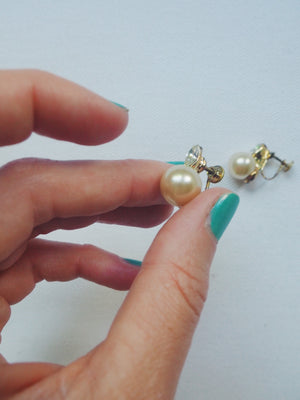Vintage Pearl Screw Backs