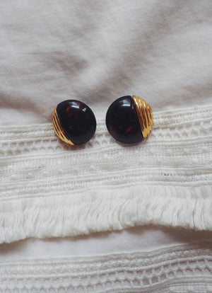 Vintage Brass and Tortoise Studs