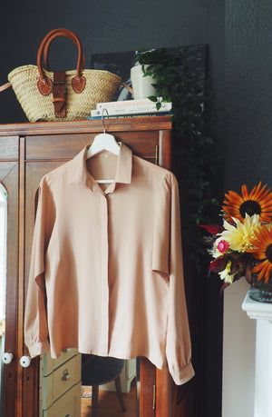 Vintage Taupe Long-Sleeve Blouse