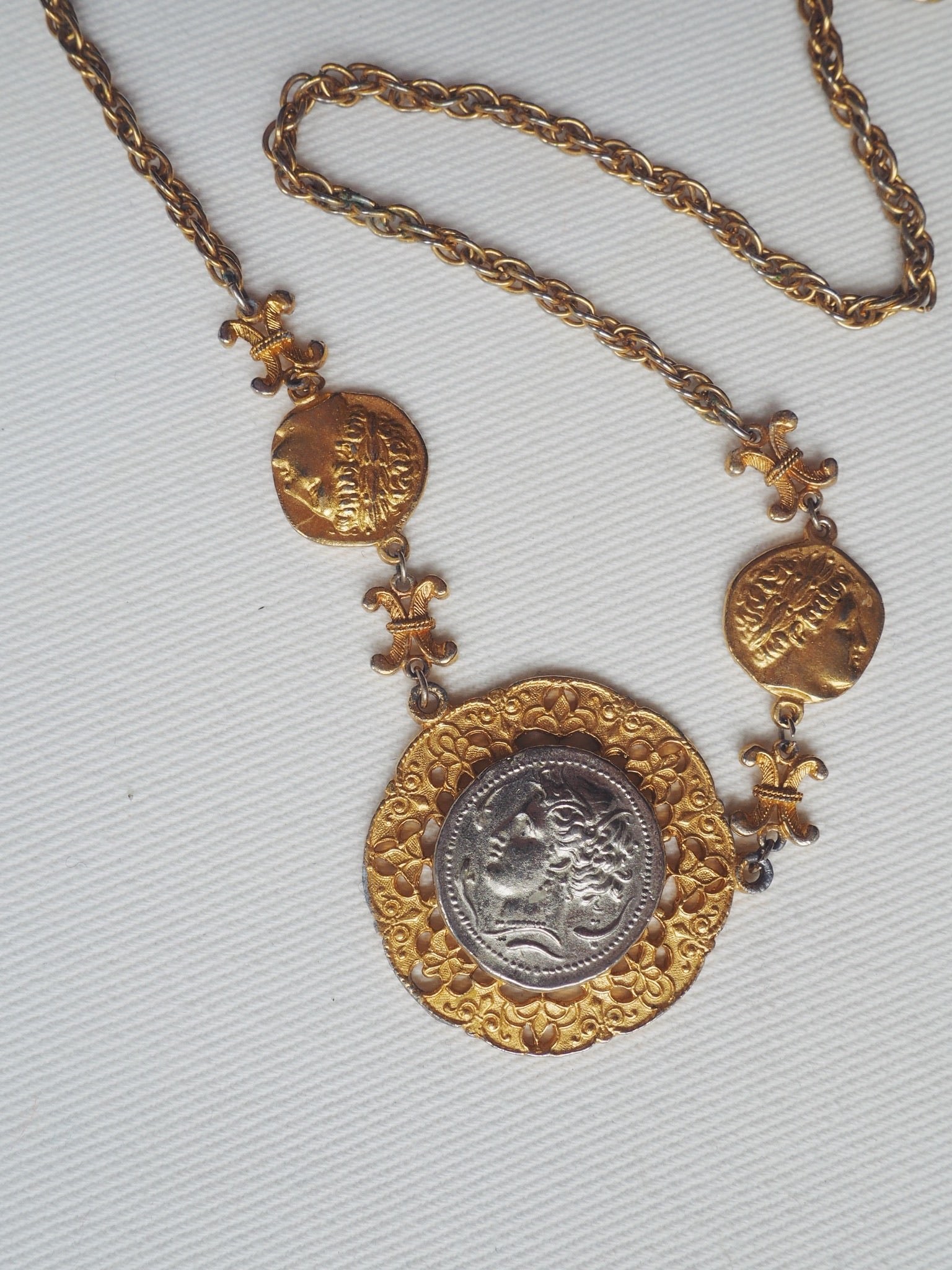 Vintage Coin Statement Necklace