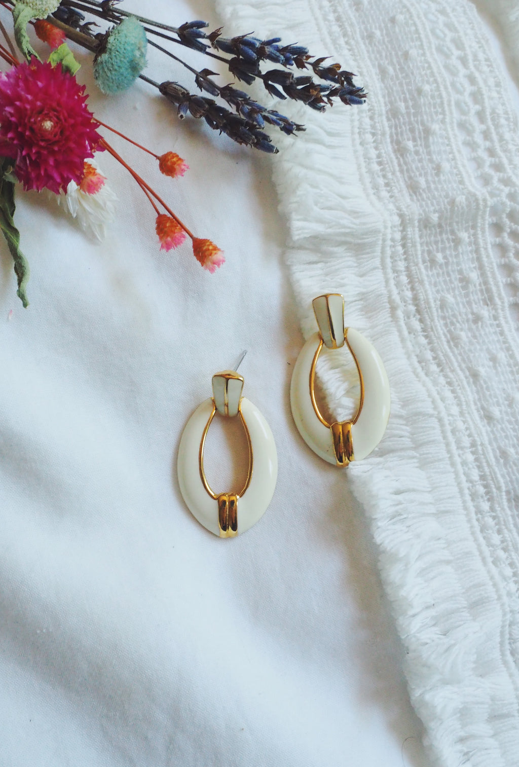 80s White Enamel and Gold Oval Earrings