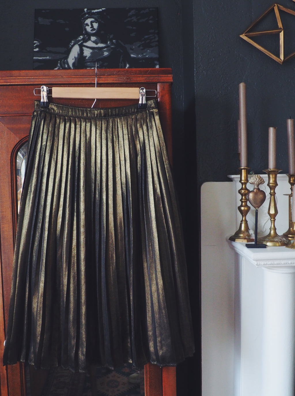 Gold Shimmer Pleated Skirt