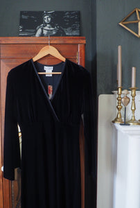 NEW Vintage Black Velvet Midi Dress
