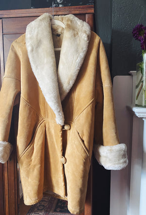Vintage Caramel Leather Coat