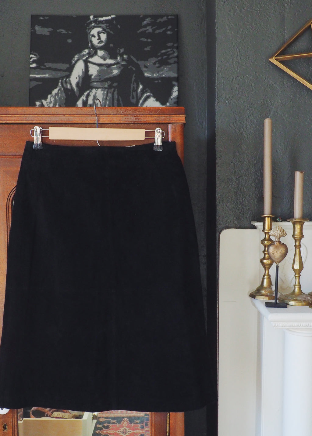 Black Suede Knee-Length Skirt