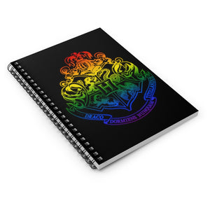 House Pride Notebook - Rainbow School Crest - Custom Pride Flag - Harry Inspired Potter Fan