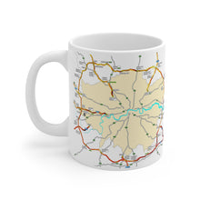 Load image into Gallery viewer, Flaming M25 - Coffee Mug 11oz - Fire - Sigil - Traffic Jam - Rune - Symbol - Left Handed Mug