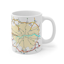 Load image into Gallery viewer, Flaming M25 - Coffee Mug 11oz - Fire - Sigil - Traffic Jam - Rune - Symbol - Right Handed Mug