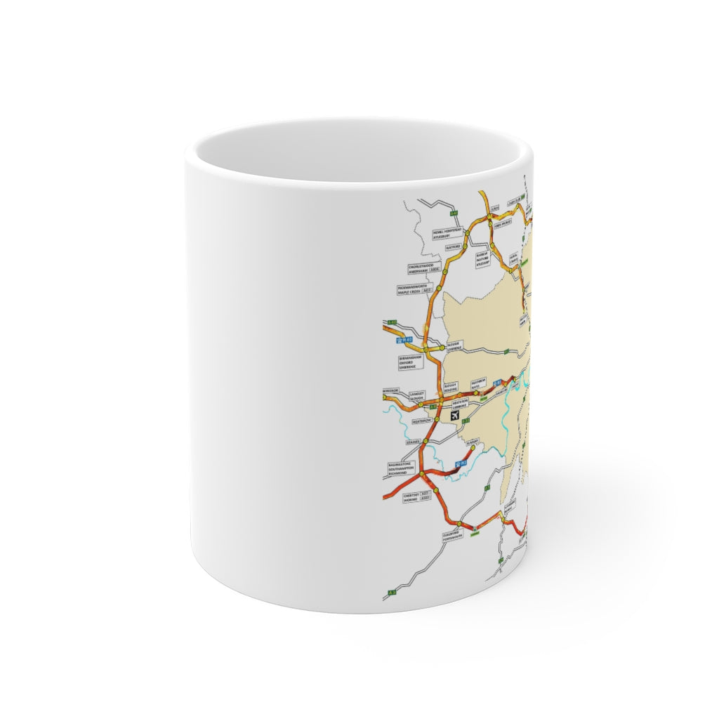 Flaming M25 - Coffee Mug 11oz - Fire - Sigil - Traffic Jam - Rune - Symbol - Right Handed Mug