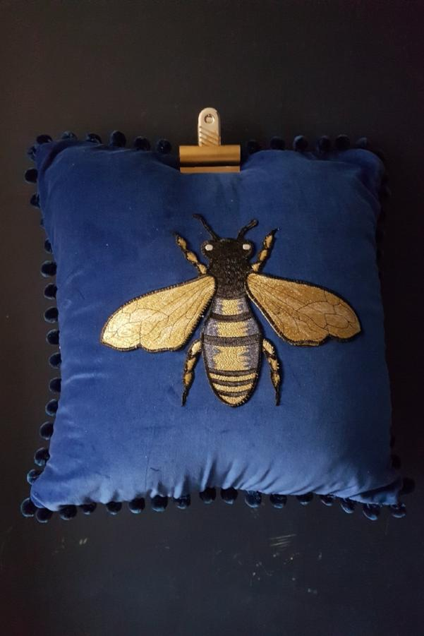 Blue Velvet Bee Cushion With Blue Pompoms