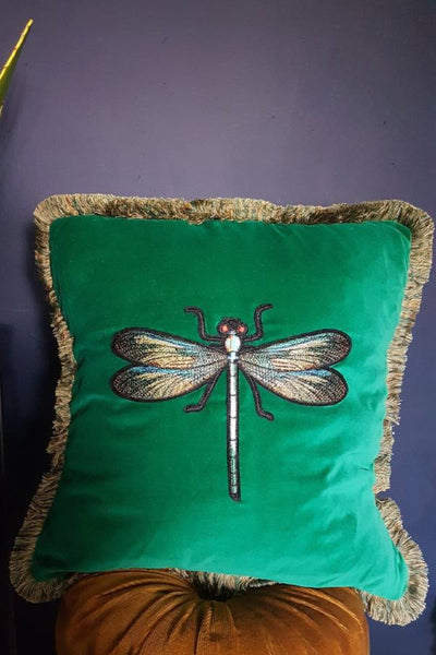 Emerald Dragonfly Cushion With Green Frizzle Fringing