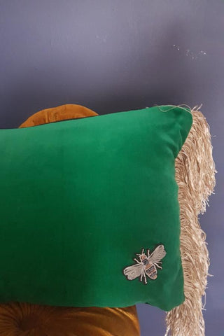 Green Velvet Bee Cushion With Fringing