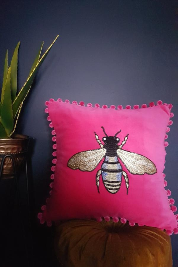 Pink Velvet Bee Cushion With Pink Pompoms