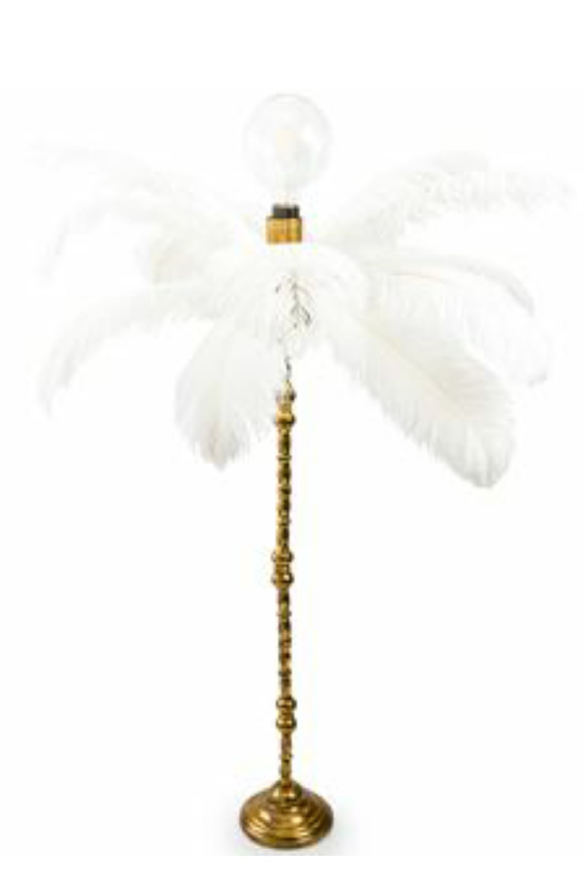 White feather table lamp on gold base