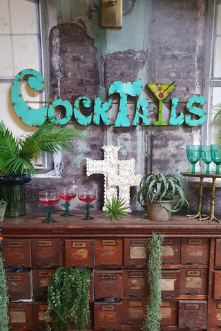 Cocktails Large Metal Bar Sign