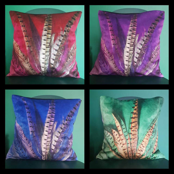 Pheasant Feather Print Velvet Cushion /Decorative Pillow