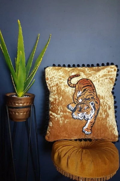 gold crushed velvet tiger cushion