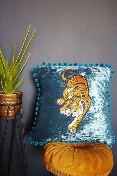 blue crushed velvet tiger cushion