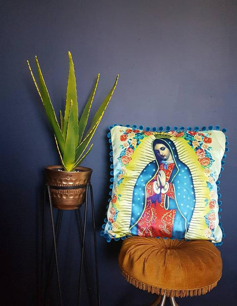 Our Lady of Guadalupe Velvet Cushion / Decorative Pillow with  Pom Pom Detail