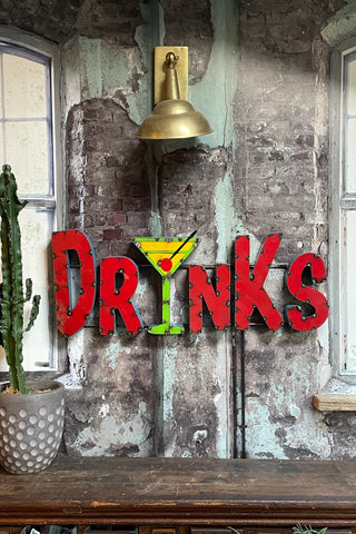 drinks metal wall sign