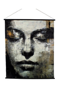 Large Sketched Female Face Velvet Wall Hanging