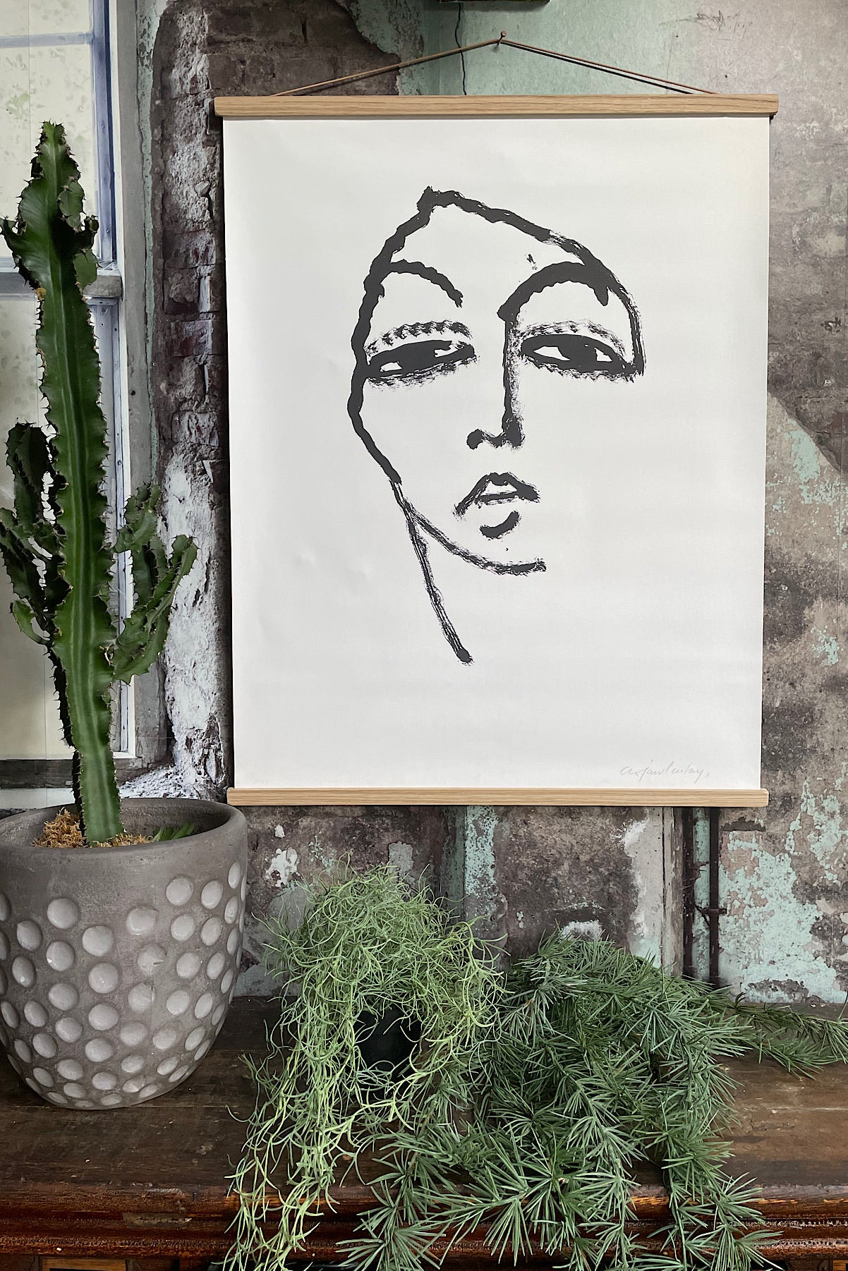 Abstract Face Print/Wall Canvas