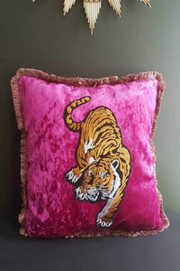 pink crushed velvet tiger cushion