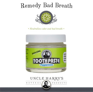 Uncle Harry's Natural & Fluoride-free Remineralizing Toothpaste - Freshens Breath & Strengthens Enamel - Peppermint (2 pack, 3 oz. jar)