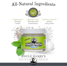 Load image into Gallery viewer, Uncle Harry's Natural & Fluoride-free Remineralizing Toothpaste - Freshens Breath & Strengthens Enamel - Peppermint (2 pack, 3 oz. jar)