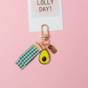 Avocado metal keychain