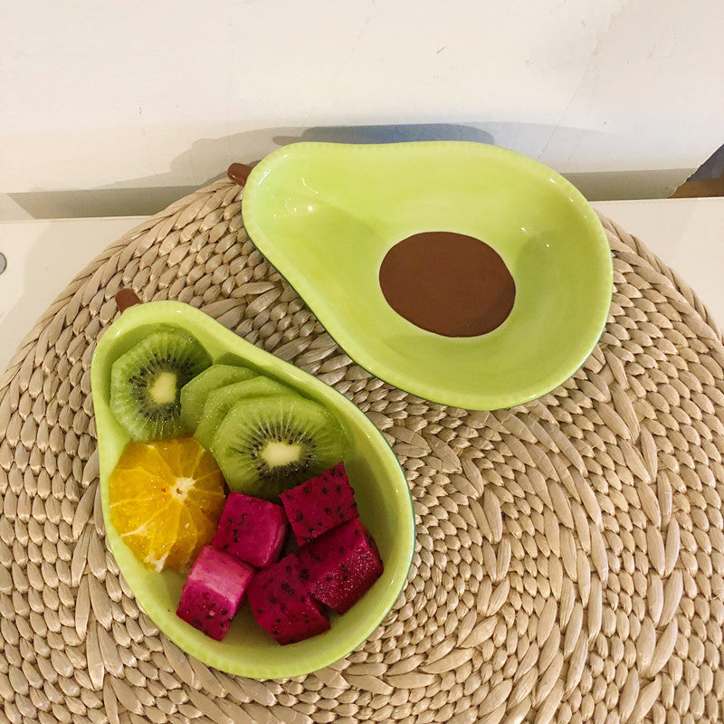 Avocado shape ceramic fruit salad plate 6.5 inch