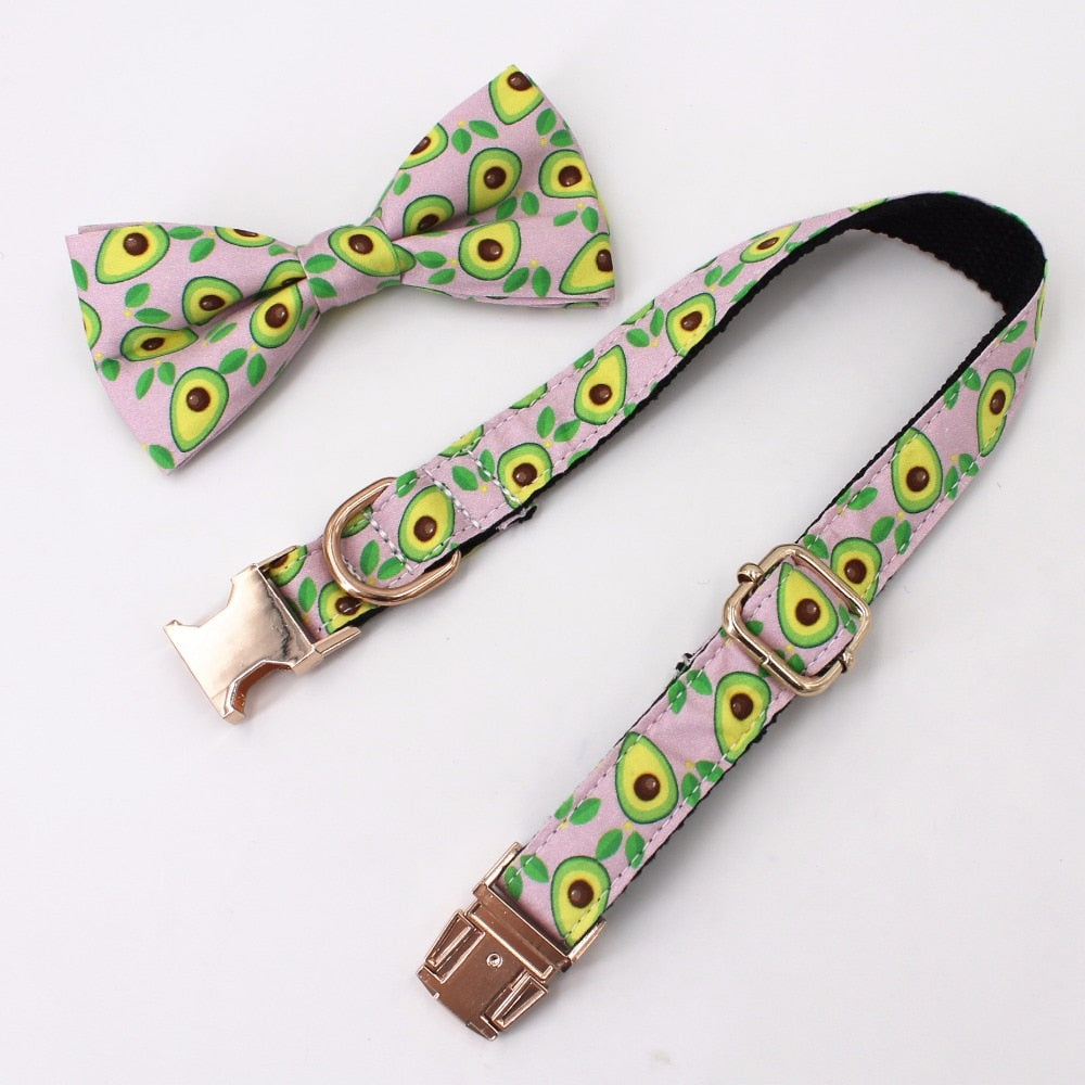 Avo Print Bow Leather Pet Collar And Leash