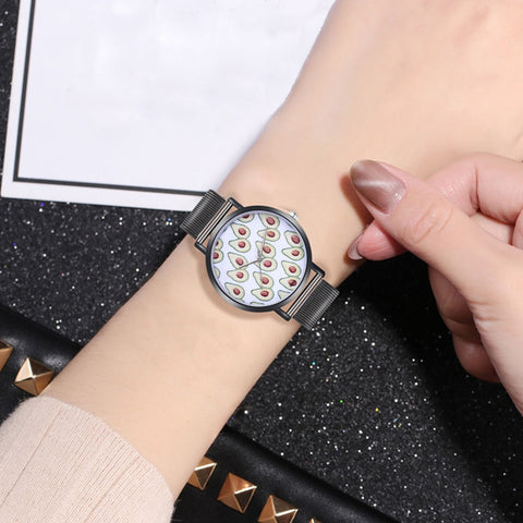 Women's Avo Print Mesh Strap Watch