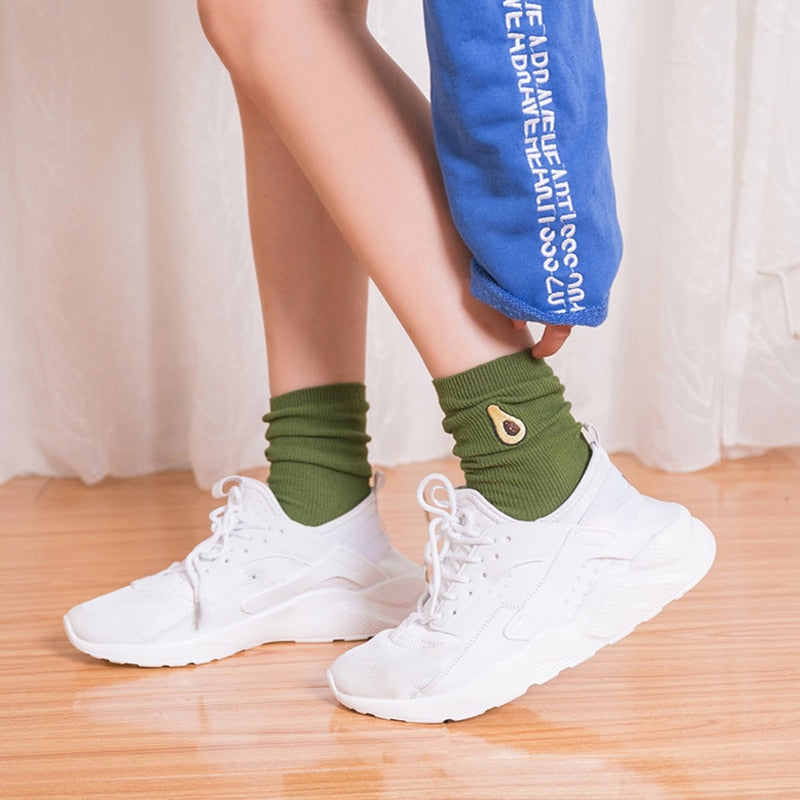 Women's Avocado Embroidery Socks