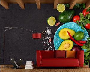 3D Avo Print Wallpaper - Home Decor