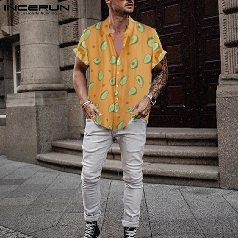 Avocado Print Collar Short Sleeve Hawaiian Shirts