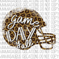 Game Day Leopard Helmet Digital Design