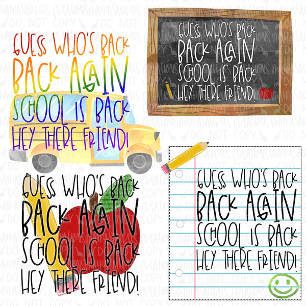 Guess Who's Back to School Bundle Digital Design