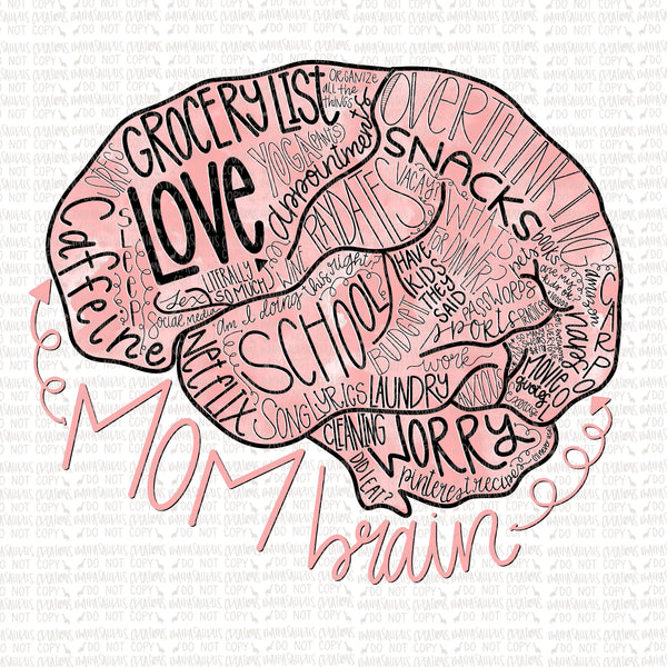 Mom Brain Words Digital Design