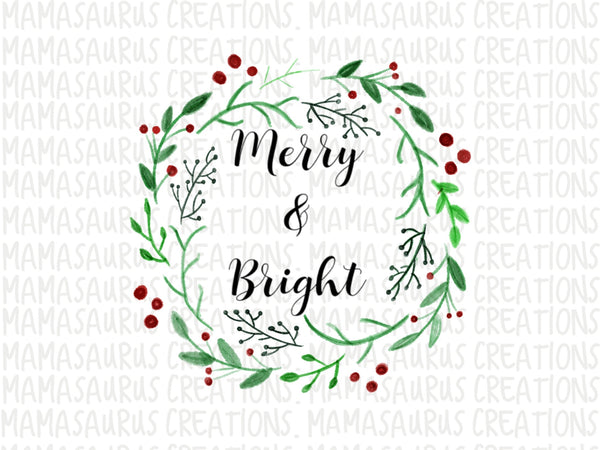 Merry and Bright Wreath Digital Design