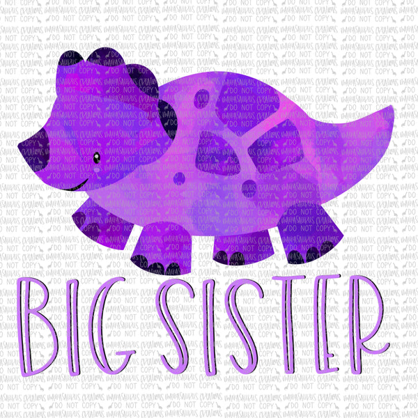 Big Sister Purple Triceratops Digital Design