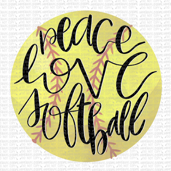 Peace, Love, Softball Digital Design