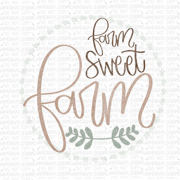 Farm Sweet Farm Handlettered Digital Design