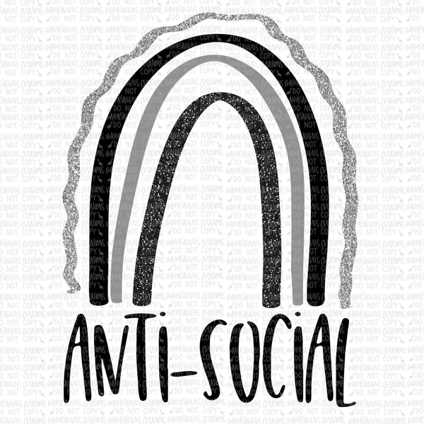 Anti Social Black Rainbow Digital Design