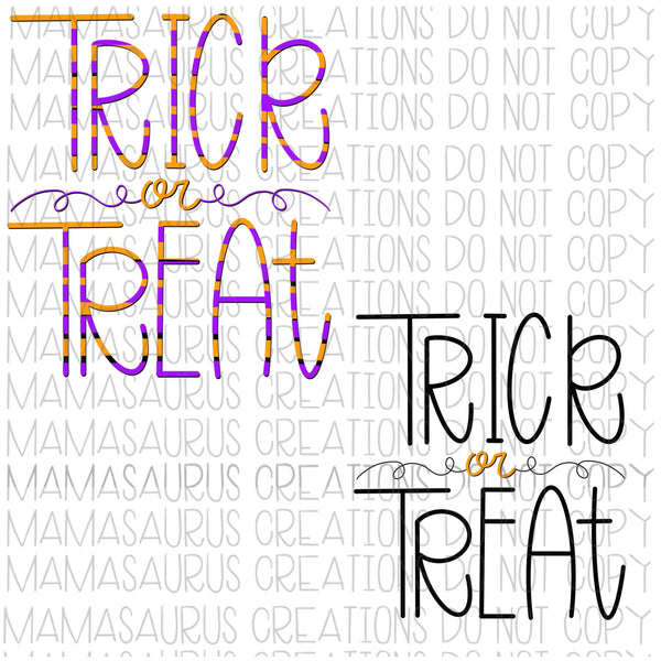 Handlettered Trick or Treat Digital Design