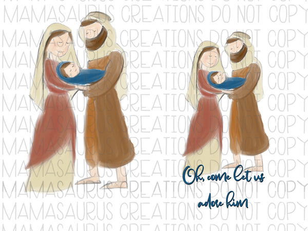 Watercolor Nativity Digital Design