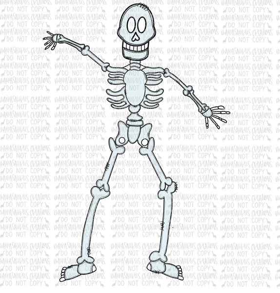 Hand Drawn Doodle Skeleton Digital Design