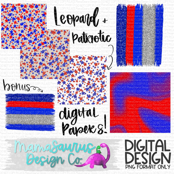 Patriotic Leopard Digital Papers