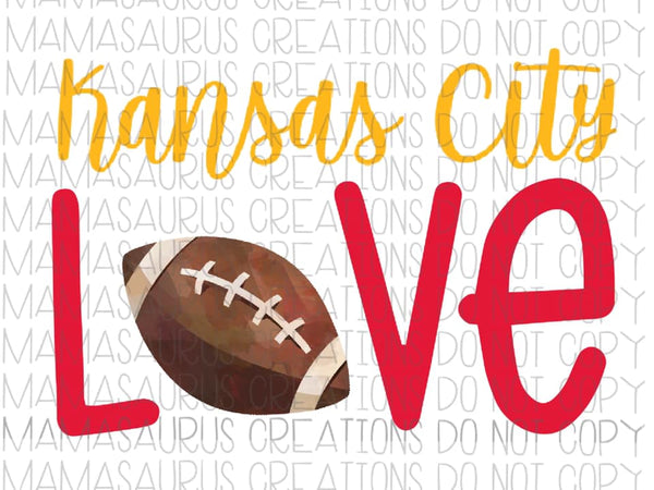 Kansas City Love Football Digital Design