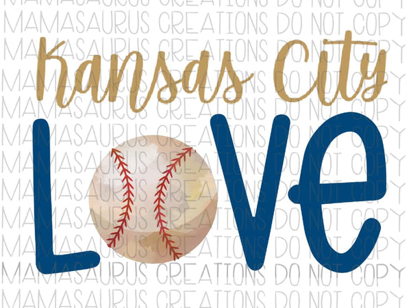 Kansas City Love Baseball Digital Design